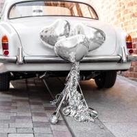 Auto decoratie just married bruiloft versiering