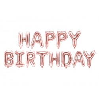 Happy Birthday letter ballonnen rosé goud