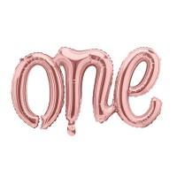 """Folieballon """"One"""" rose goud eerste verjaardag versiering"""