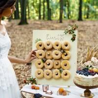 Donut wall hout bruiloft communie