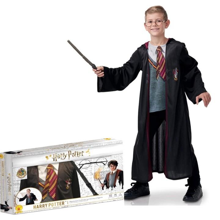 Harry Potter kostuum kind + bril en stok in cadeaubox