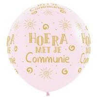Grote ballon Communie pastel roze XL 90 cm