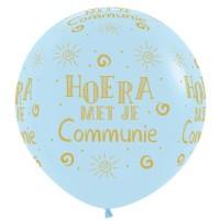 Grote ballon Communie pastel blauw XL 90 cm