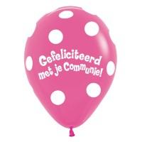Communie ballonnen dots roze 30cm 5st