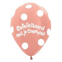 Communie ballonnen dots rose goud 30cm 5st