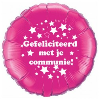Folieballon Communie stars roze 45cm