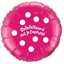 Folieballon Communie dots roze 45cm