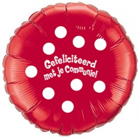 Folieballon Communie dots rood 45cm