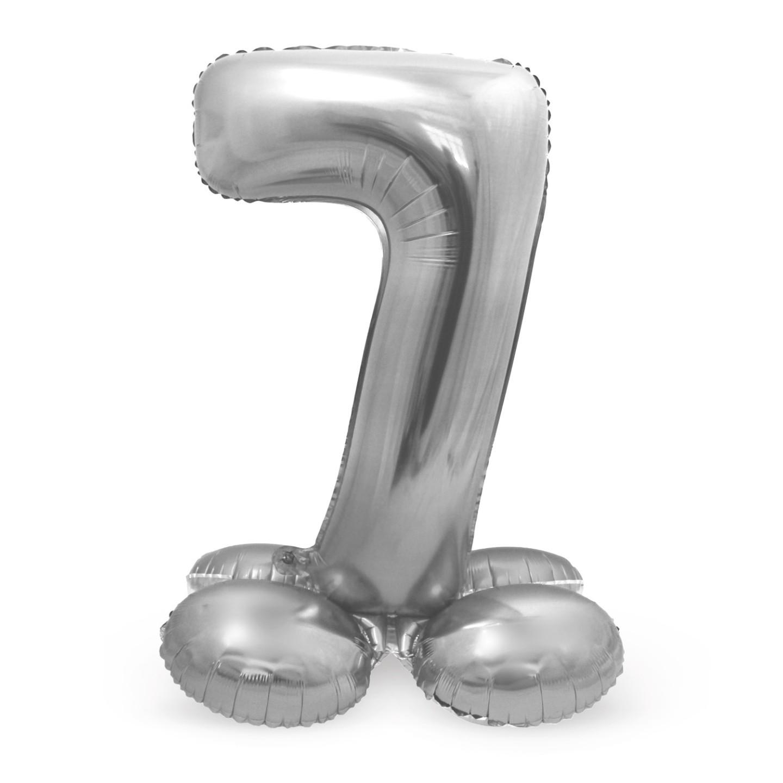 grote cijfer ballon 7 met basis zilver folieballon