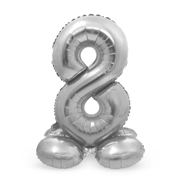 Folieballon met basis cijfer 8 zilver 72cm