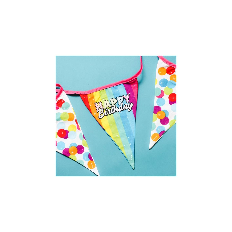 Stoffen vlaggenlijn verjaardag happy birthday regenboog