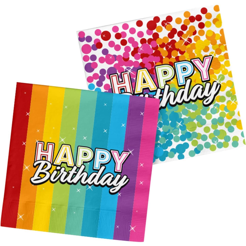 papieren Verjaardag servetten happy birthday regenboog