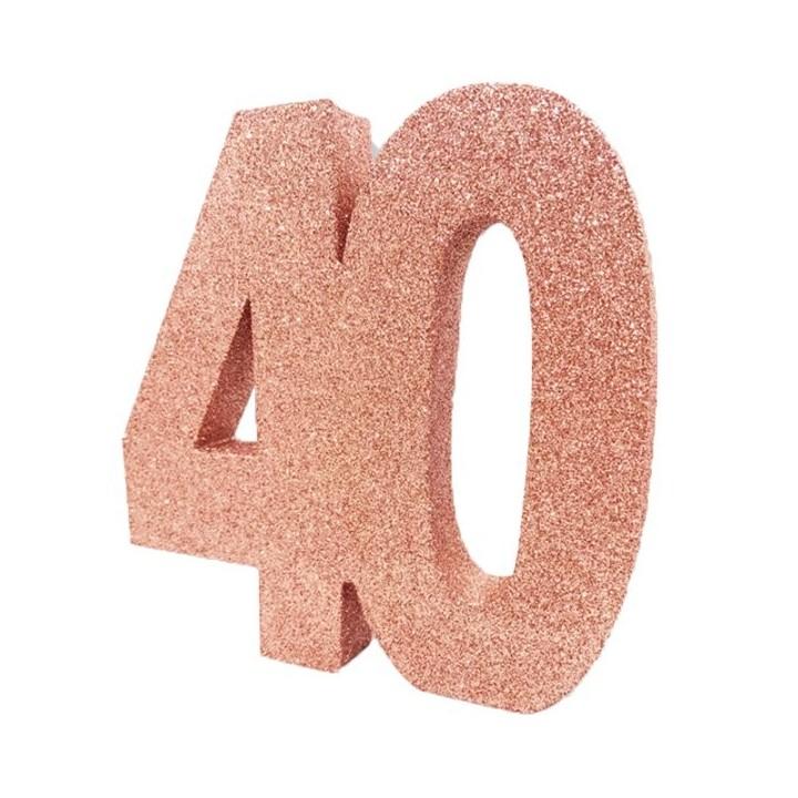 Tafeldecoratie glitter cijfer 40 rose goud