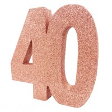 Tafeldecoratie cijfer 40 glitter rose goud