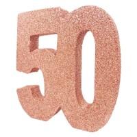 Tafeldecoratie glitter cijfer 50 rose goud