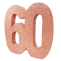 Tafeldecoratie glitter cijfer 60 rose goud