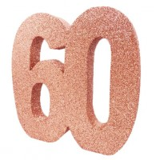 Tafeldecoratie cijfer 60 glitter rose goud