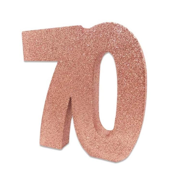 Tafeldecoratie glitter cijfer 70 rose goud