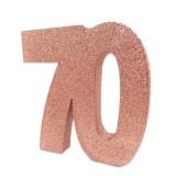 Tafeldecoratie cijfer 70 glitter rose goud