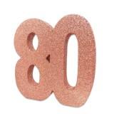 Tafeldecoratie cijfer 80 glitter rose goud
