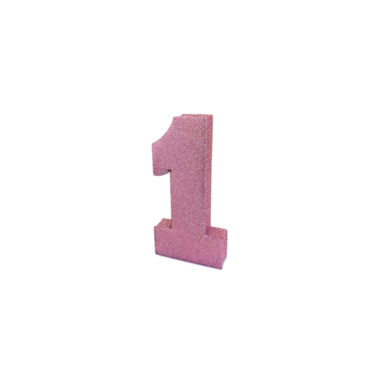 Tafeldecoratie cijfer 1 glitter roze