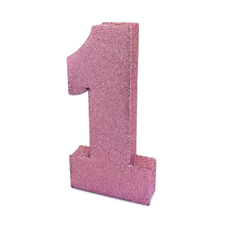 Tafeldecoratie glitter cijfer 1 baby roze