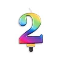 Taartkaars regenboog cijfer 2