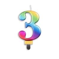 Taartkaars regenboog cijfer 3