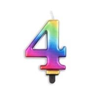 Taartkaars regenboog cijfer 4