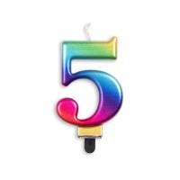 Taartkaars regenboog cijfer 5