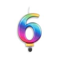 Taartkaars regenboog cijfer 6