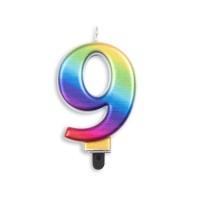 Taartkaars regenboog cijfer 9