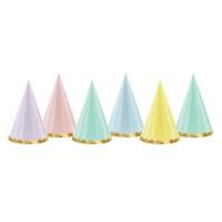 Kartonnen feesthoedjes papieren hoedjes pastel