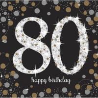 Verjaardag servetten 80 jaar versiering tafeldecoratie
