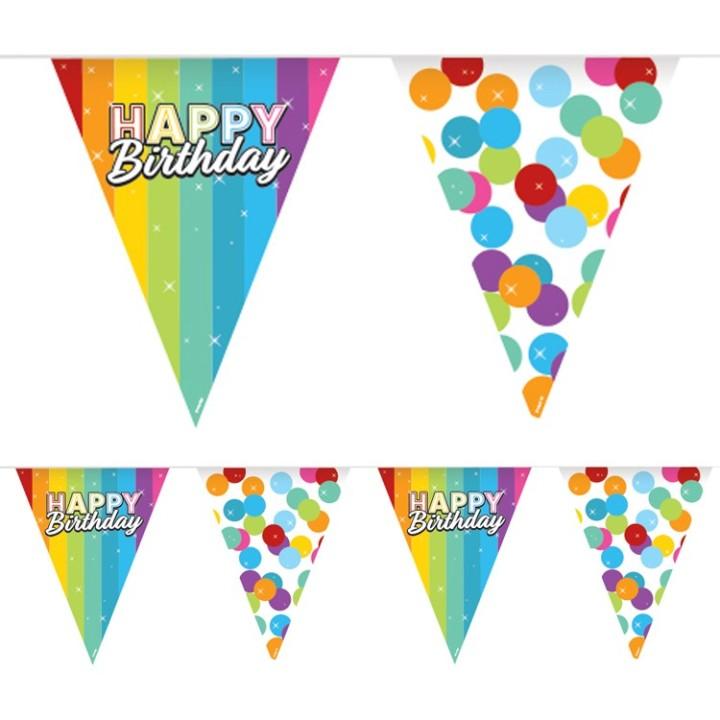 Verjaardag vlaggenlijn Bday rainbow 6m