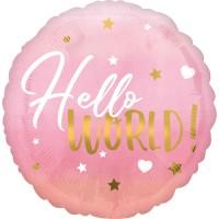Folieballon geboorte Hello World roze 43cm