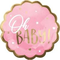 Folieballon geboorte Oh Baby roze 55cm