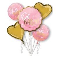 Folieballon boeket geboorte roze 5 stuks