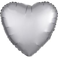 Folieballon Satin Luxe Zilver hart 43cm