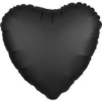 Folieballon Satin Luxe Zwart hart 43cm