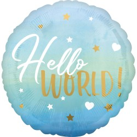 Folieballon geboorte Hello World blauw 43cm