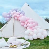 DIY luxe ballonboog paars-roze pastel