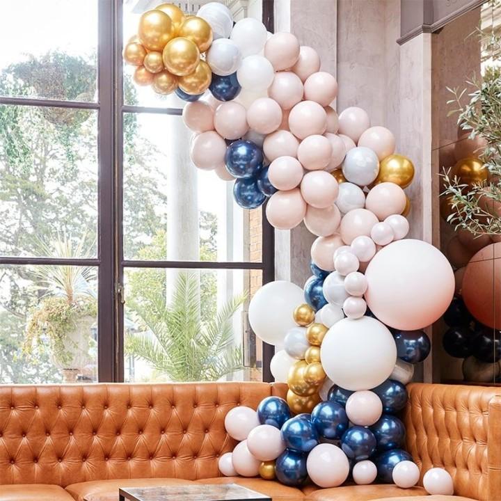 DIY luxe ballonboog marble navy goud