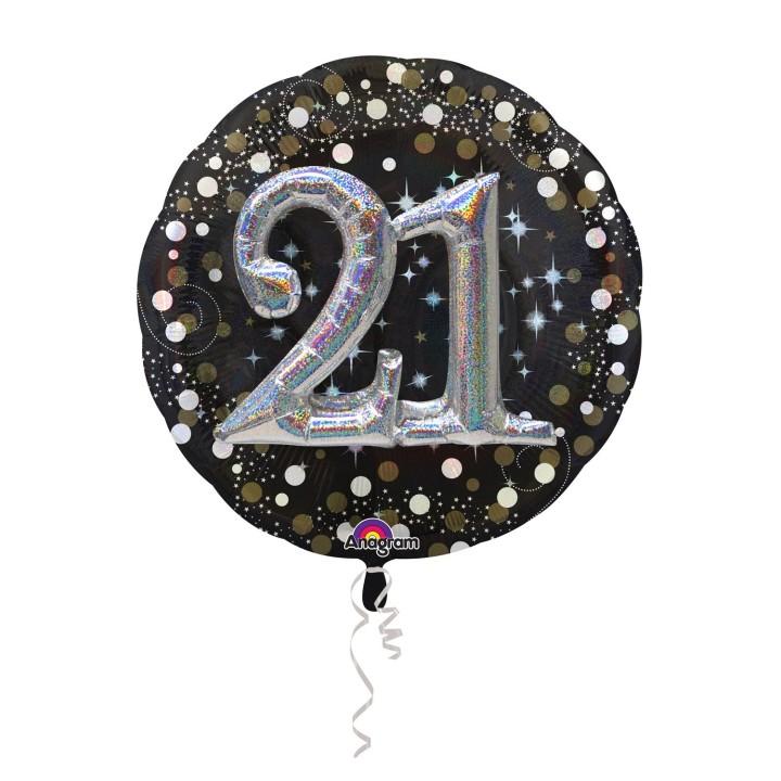 Folieballon Multi 3D 21 jaar 81x81cm