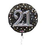 Folieballon multiballoon 3D sparkling 21 jaar