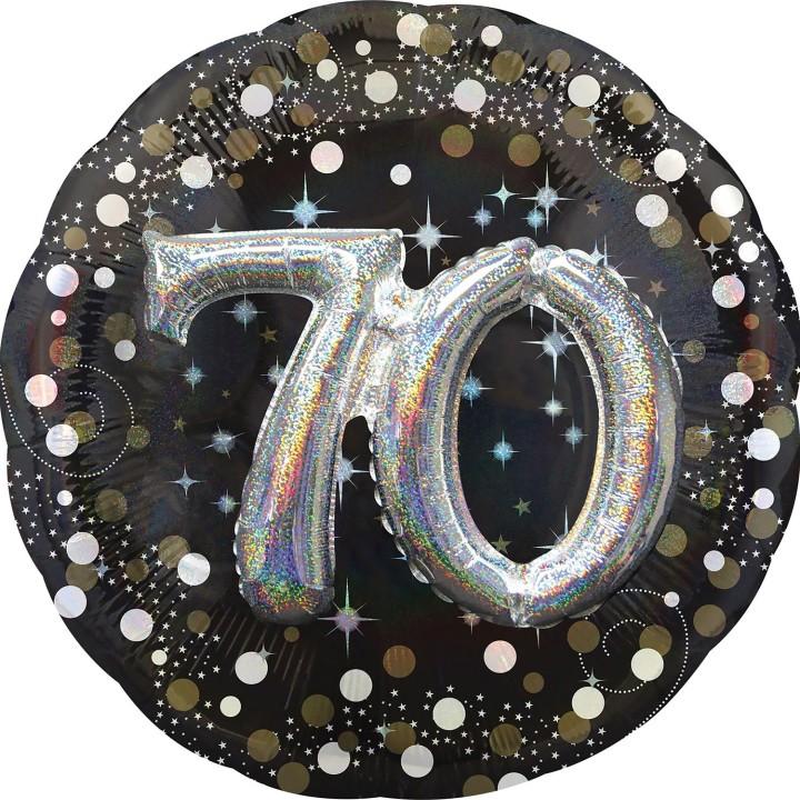 Folieballon Multi 3D 70 jaar 81x81cm