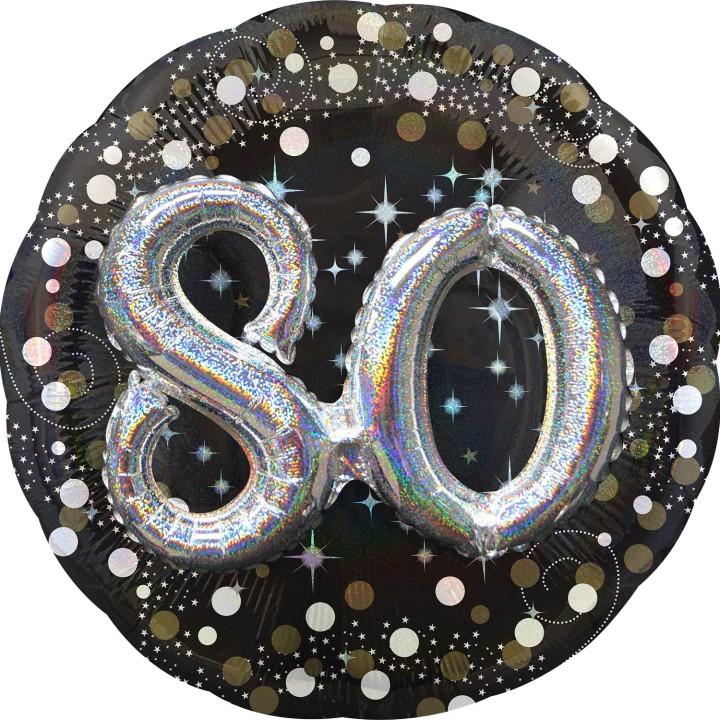 Folieballon Multi 3D 80 jaar 81x81cm
