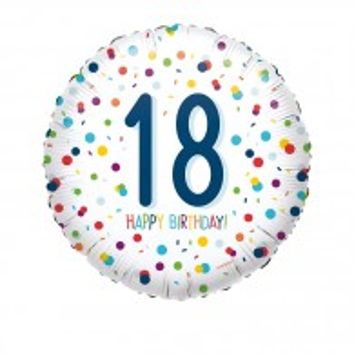 Folieballon Confetti 18 jaar HBDay 43cm