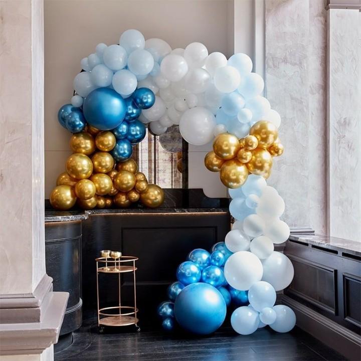 DIY luxe ballonboog blauw-goud 200-dlg