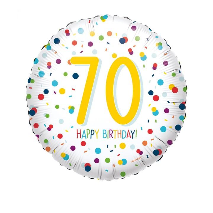 Folieballon Confetti 70 jaar HBDay 43cm
